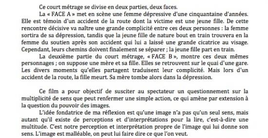 Film Face A Face B - note d'intention
