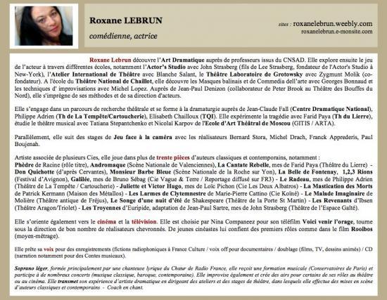 Roxane Lebrun - Biographie d'Actrice (2012)