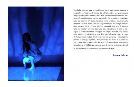 Roxane Lebrun - rôle de Clytemnestre